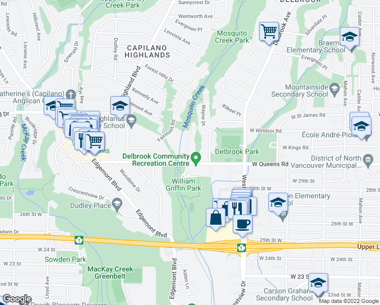 map of restaurants, bars, coffee shops, grocery stores, and more near 3046 Del Rio Drive in North Vancouver