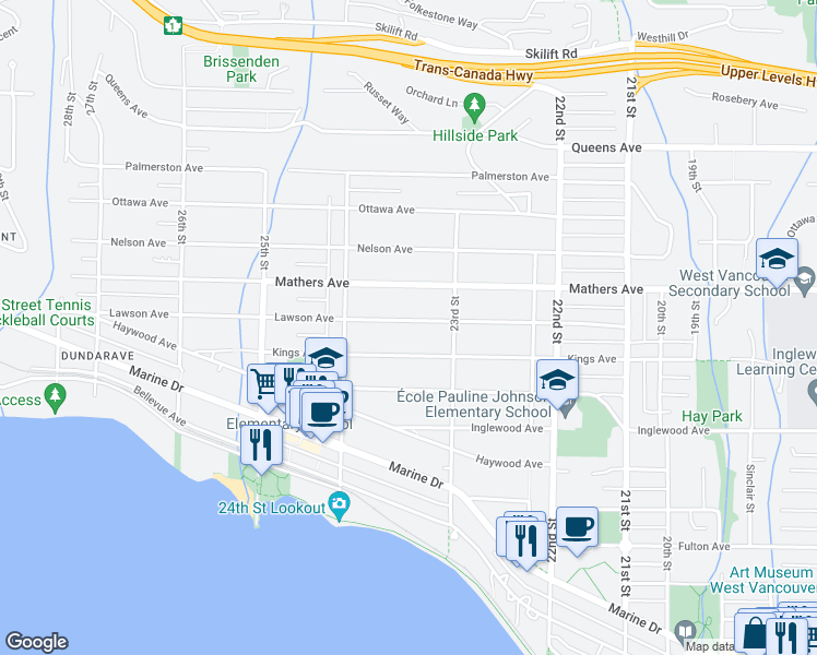 map of restaurants, bars, coffee shops, grocery stores, and more near 2342 Lawson Avenue in West Vancouver