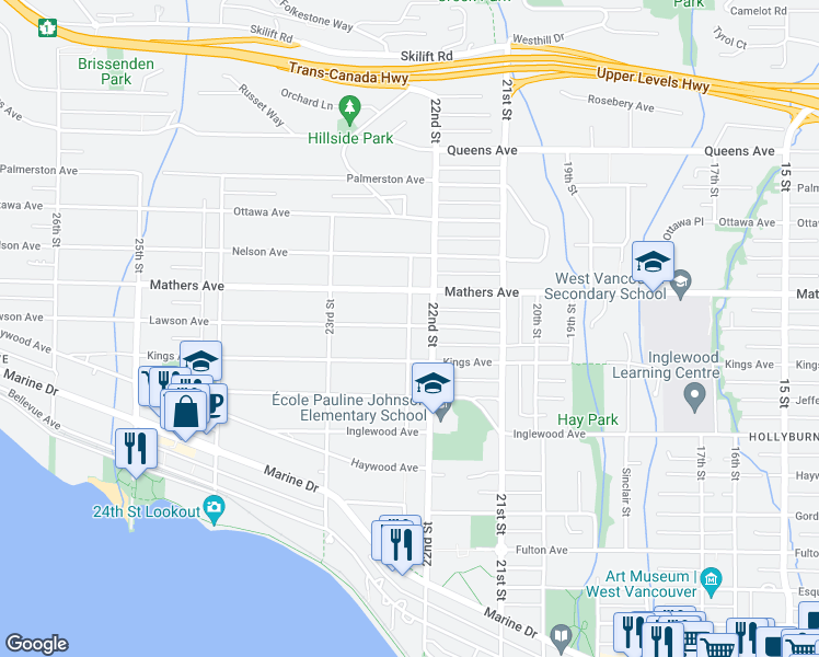 map of restaurants, bars, coffee shops, grocery stores, and more near 2220 Lawson Avenue in West Vancouver