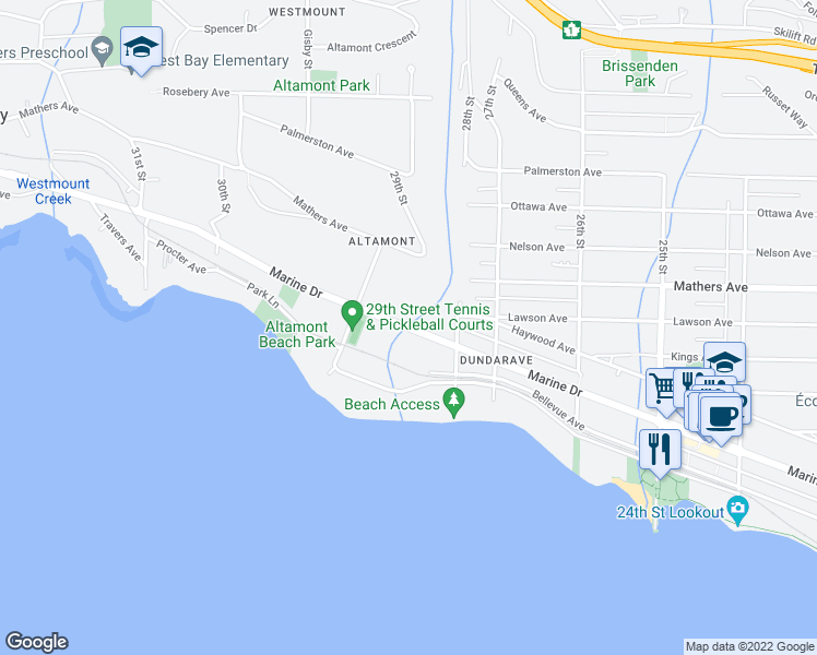 map of restaurants, bars, coffee shops, grocery stores, and more near 2855 Marine Drive in West Vancouver