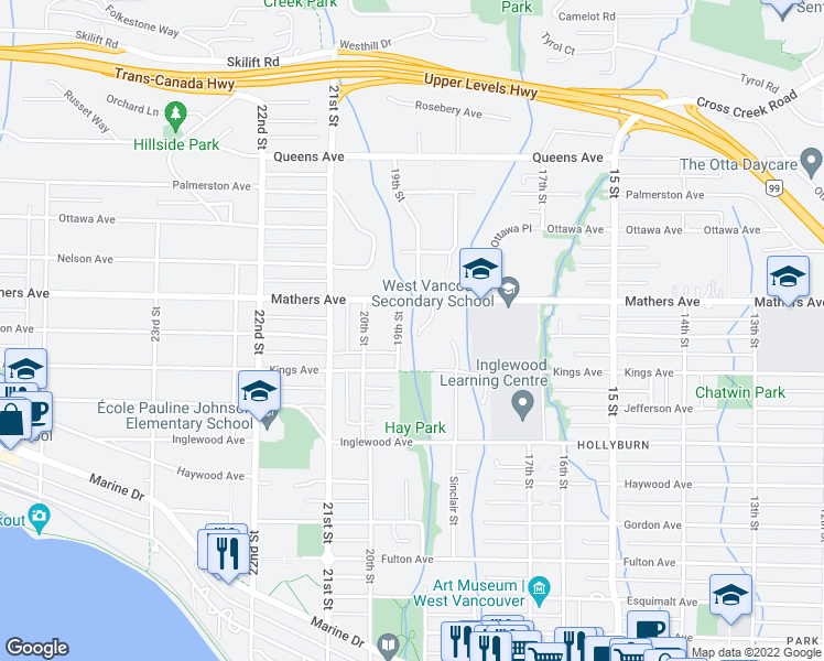 map of restaurants, bars, coffee shops, grocery stores, and more near 1862 Mathers Court in West Vancouver