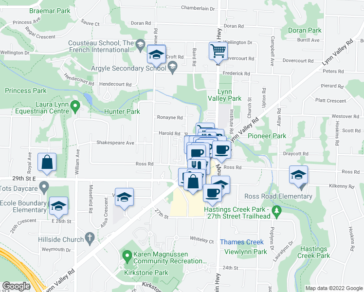 map of restaurants, bars, coffee shops, grocery stores, and more near 3123 Baird Road in North Vancouver