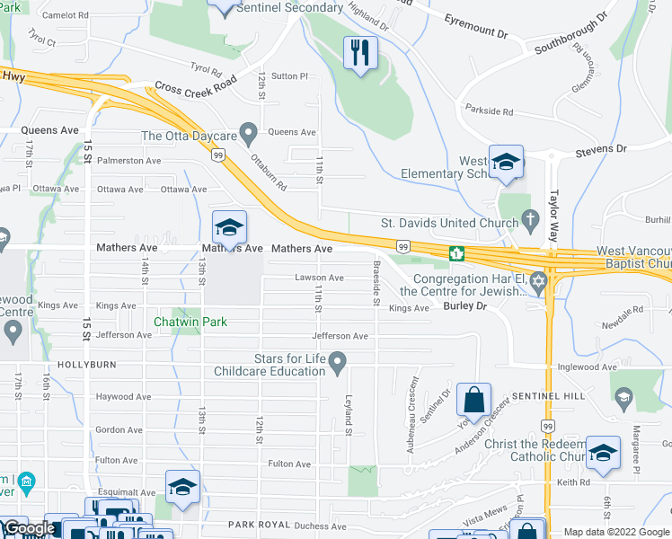 map of restaurants, bars, coffee shops, grocery stores, and more near 1075 Lawson Avenue in West Vancouver