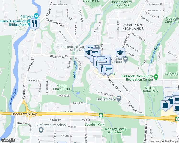 map of restaurants, bars, coffee shops, grocery stores, and more near 3095 Crescentview Drive in North Vancouver
