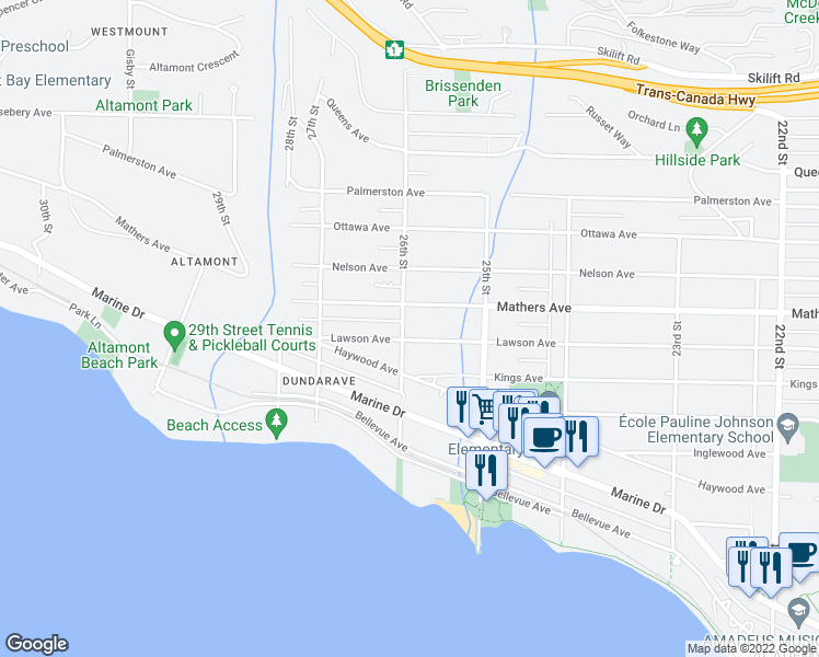 map of restaurants, bars, coffee shops, grocery stores, and more near 2595 Lawson Avenue in West Vancouver