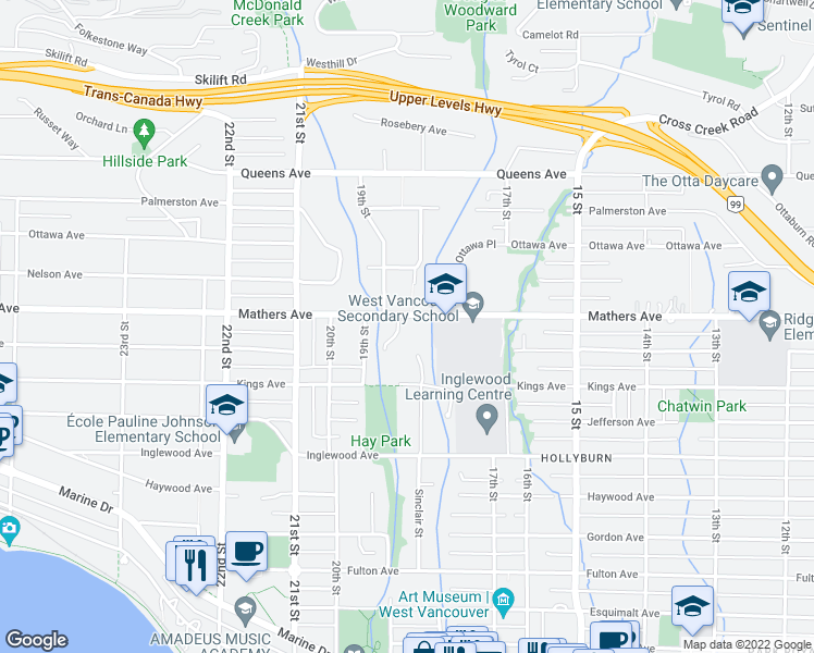 map of restaurants, bars, coffee shops, grocery stores, and more near 1840 Mathers Avenue in West Vancouver