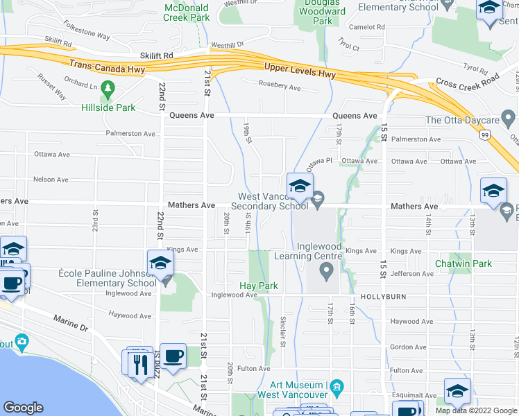 map of restaurants, bars, coffee shops, grocery stores, and more near 1850 Mathers Avenue in West Vancouver