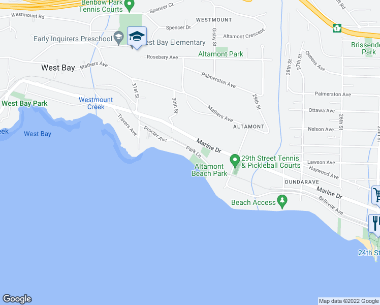 map of restaurants, bars, coffee shops, grocery stores, and more near 2962 Park Lane in West Vancouver