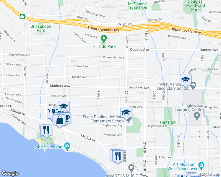 map of restaurants, bars, coffee shops, grocery stores, and more near 2258 Mathers Avenue in West Vancouver