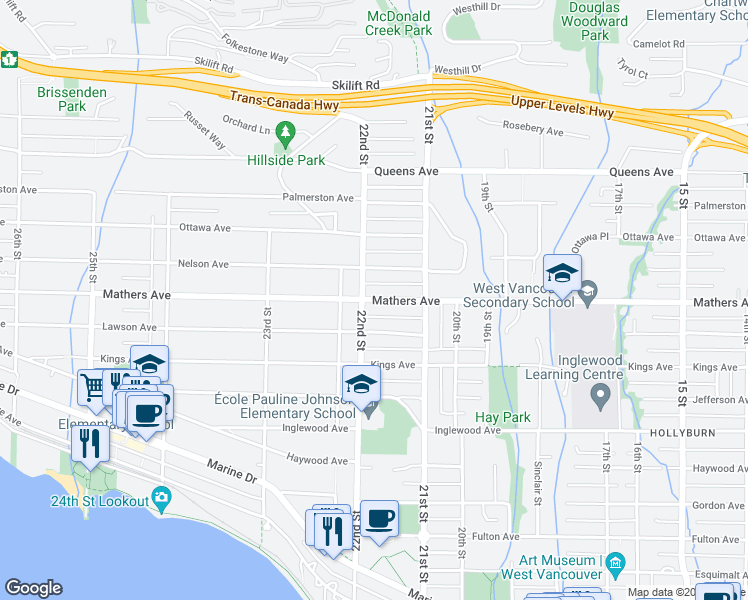 map of restaurants, bars, coffee shops, grocery stores, and more near Mathers Avenue in West Vancouver