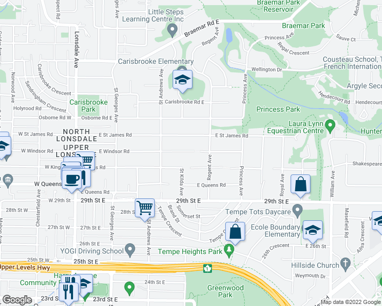 map of restaurants, bars, coffee shops, grocery stores, and more near 539 East Windsor Road in North Vancouver