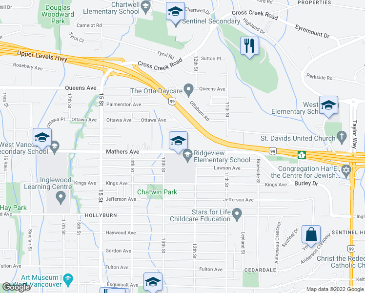 map of restaurants, bars, coffee shops, grocery stores, and more near 1255 Mathers Avenue in West Vancouver