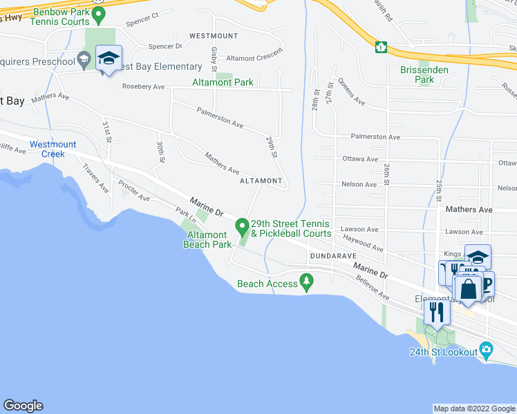 map of restaurants, bars, coffee shops, grocery stores, and more near 1380 29th Street in West Vancouver