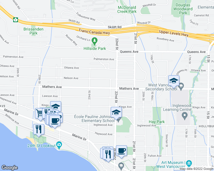 map of restaurants, bars, coffee shops, grocery stores, and more near 2231 Mathers Avenue in West Vancouver