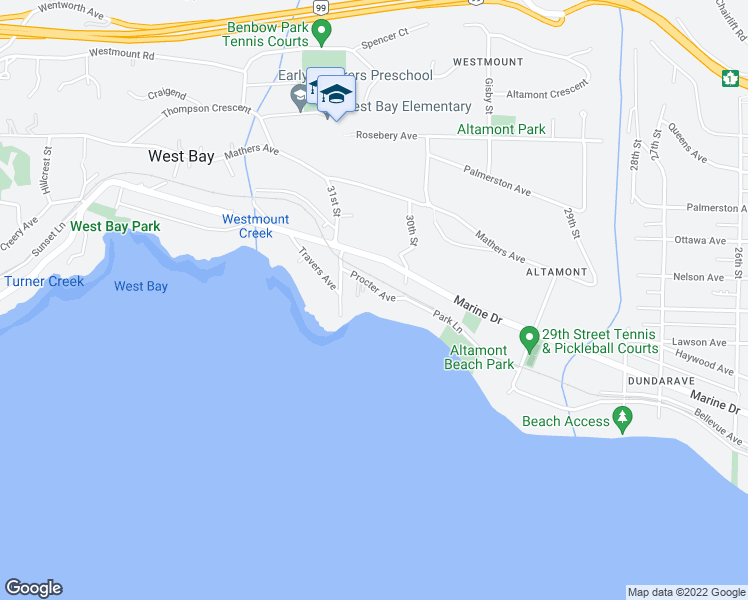 map of restaurants, bars, coffee shops, grocery stores, and more near 3050 Procter Avenue in West Vancouver