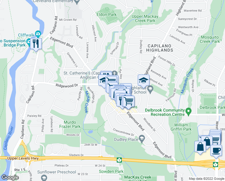 map of restaurants, bars, coffee shops, grocery stores, and more near 3220 Connaught Crescent in North Vancouver