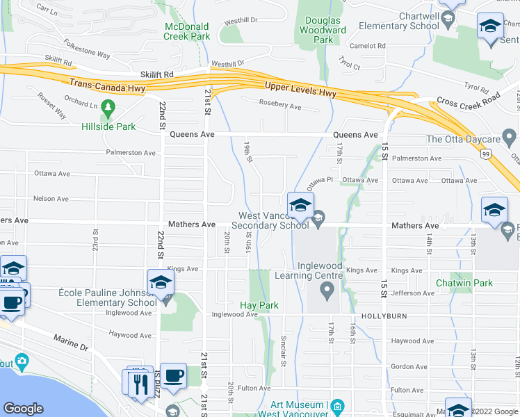 map of restaurants, bars, coffee shops, grocery stores, and more near 1565 19th Street in West Vancouver
