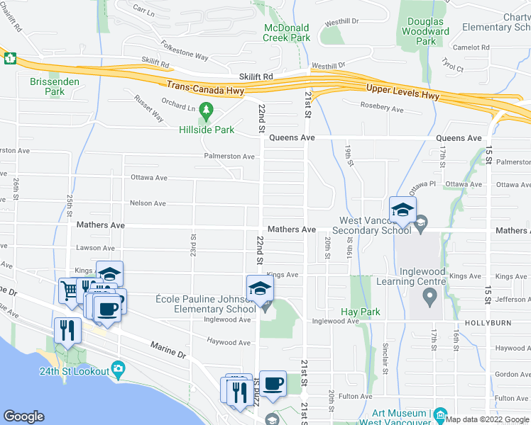 map of restaurants, bars, coffee shops, grocery stores, and more near 2196 Nelson Avenue in West Vancouver