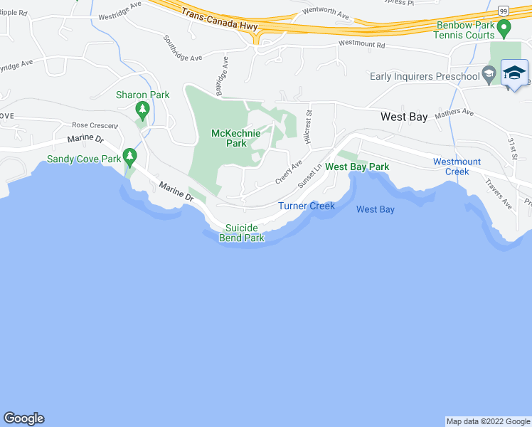 map of restaurants, bars, coffee shops, grocery stores, and more near 3665 Marine Drive in West Vancouver