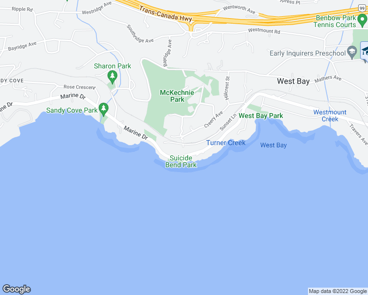 map of restaurants, bars, coffee shops, grocery stores, and more near 3699 Sunset Lane in West Vancouver