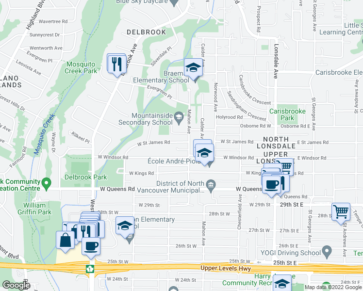 map of restaurants, bars, coffee shops, grocery stores, and more near 421 West Saint James Road in North Vancouver