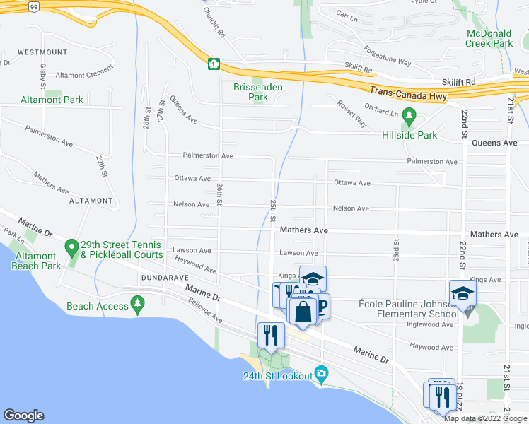 map of restaurants, bars, coffee shops, grocery stores, and more near 2512 Nelson Avenue in West Vancouver