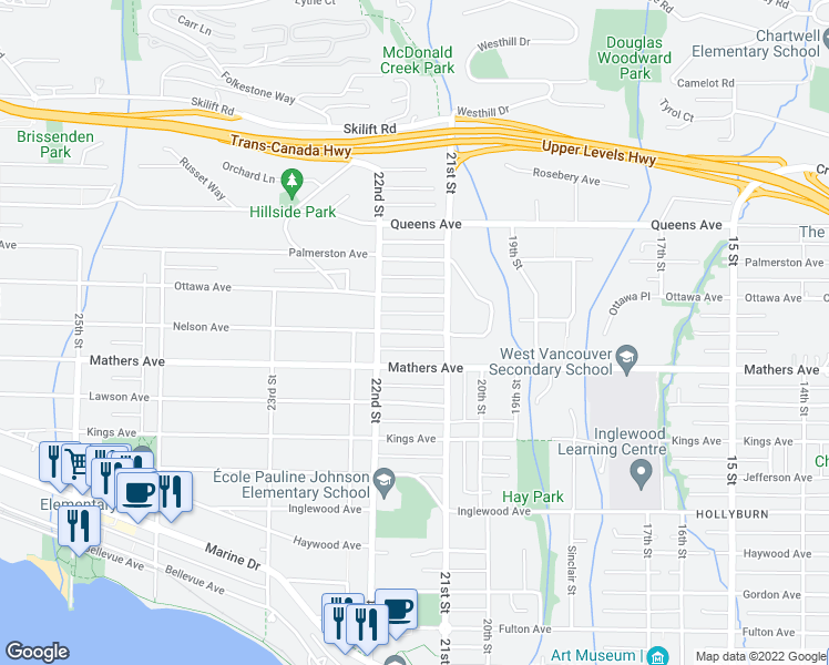 map of restaurants, bars, coffee shops, grocery stores, and more near 2160 Nelson Avenue in West Vancouver