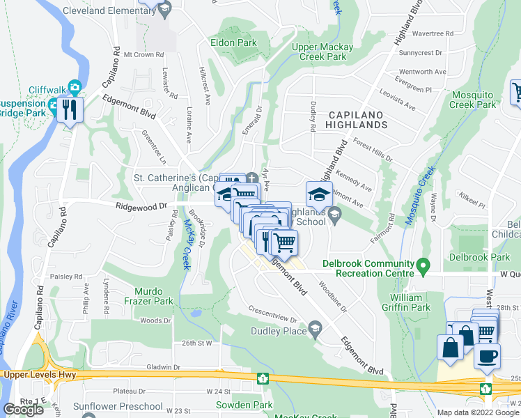 map of restaurants, bars, coffee shops, grocery stores, and more near 1055 Ridgewood Drive in North Vancouver