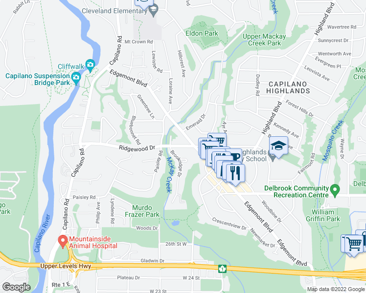 map of restaurants, bars, coffee shops, grocery stores, and more near 1133 Ridgewood Drive in North Vancouver