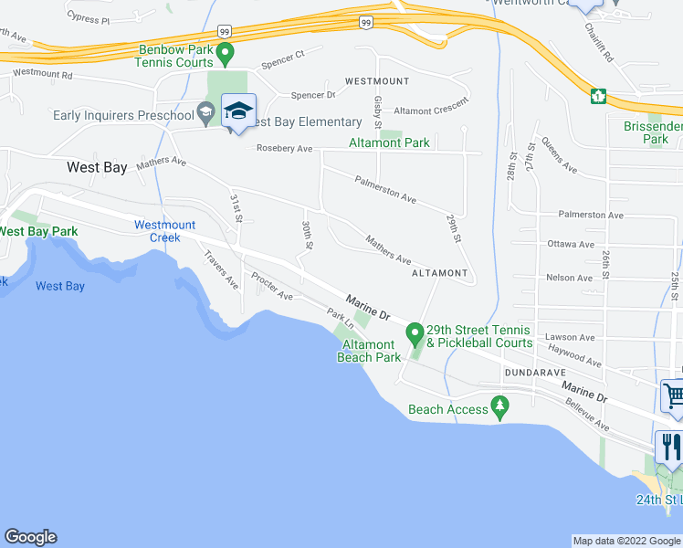 map of restaurants, bars, coffee shops, grocery stores, and more near 2975 Marine Drive in West Vancouver