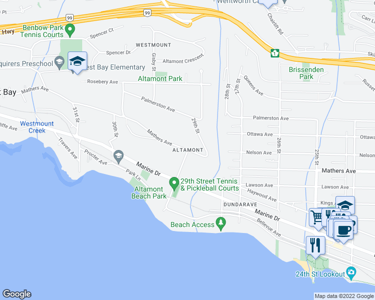 map of restaurants, bars, coffee shops, grocery stores, and more near in West Vancouver