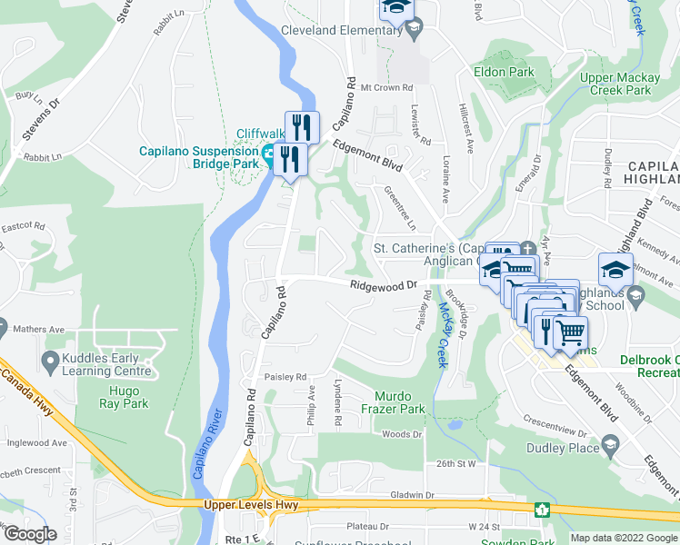 map of restaurants, bars, coffee shops, grocery stores, and more near 1380 Ridgewood Drive in North Vancouver