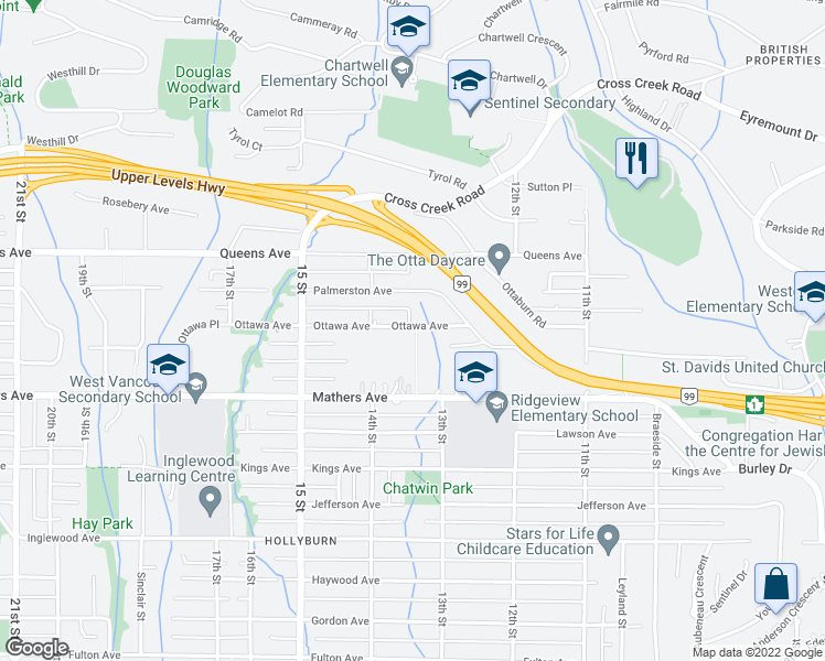 map of restaurants, bars, coffee shops, grocery stores, and more near 1348 Ottawa Avenue in West Vancouver