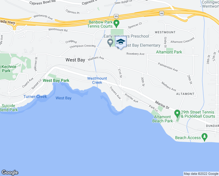 map of restaurants, bars, coffee shops, grocery stores, and more near 3180 Travers Avenue in West Vancouver