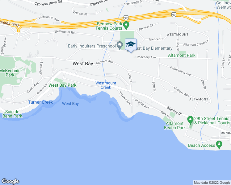 map of restaurants, bars, coffee shops, grocery stores, and more near 3190 Travers Avenue in West Vancouver