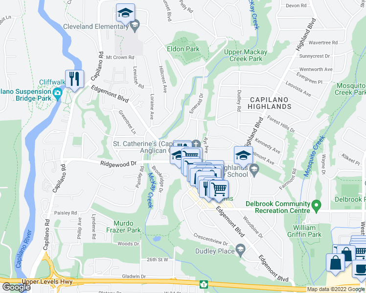 map of restaurants, bars, coffee shops, grocery stores, and more near 3440 Wellington Crescent in North Vancouver
