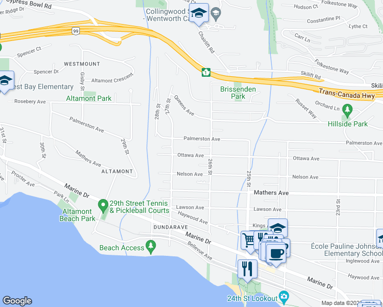 map of restaurants, bars, coffee shops, grocery stores, and more near 2616 Palmerston Avenue in West Vancouver