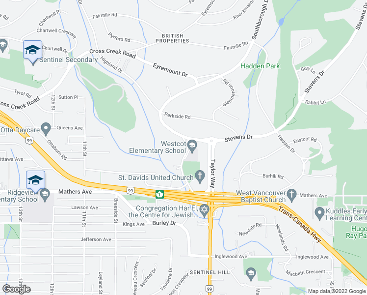 map of restaurants, bars, coffee shops, grocery stores, and more near 769 Westcot Place in West Vancouver