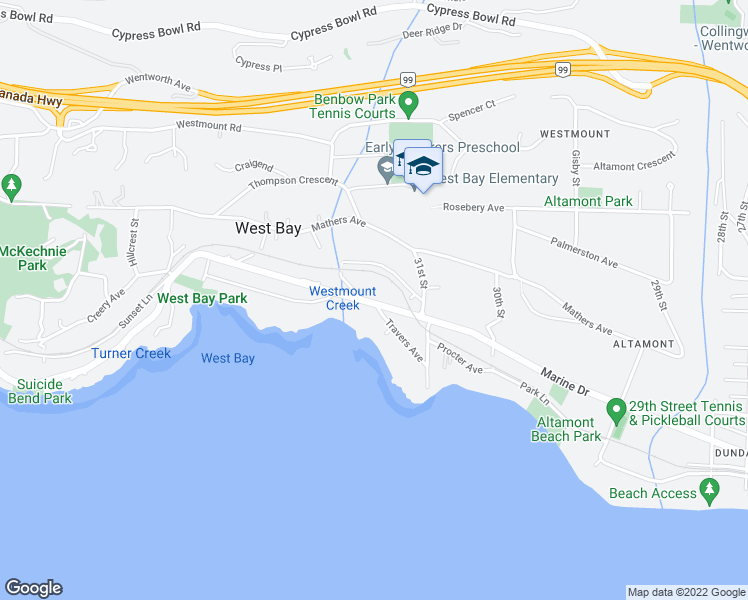map of restaurants, bars, coffee shops, grocery stores, and more near 3215 Marine Drive in West Vancouver