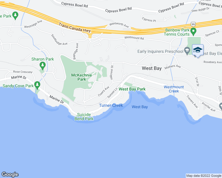 map of restaurants, bars, coffee shops, grocery stores, and more near 3548 Creery Avenue in West Vancouver
