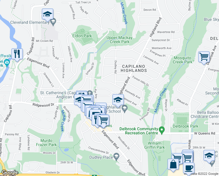 map of restaurants, bars, coffee shops, grocery stores, and more near 1026 Belmont Avenue in North Vancouver