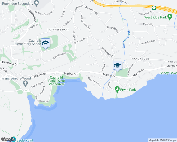map of restaurants, bars, coffee shops, grocery stores, and more near 4471 Marine Drive in West Vancouver
