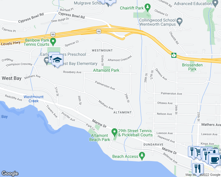 map of restaurants, bars, coffee shops, grocery stores, and more near 2956 Palmerston Avenue in West Vancouver