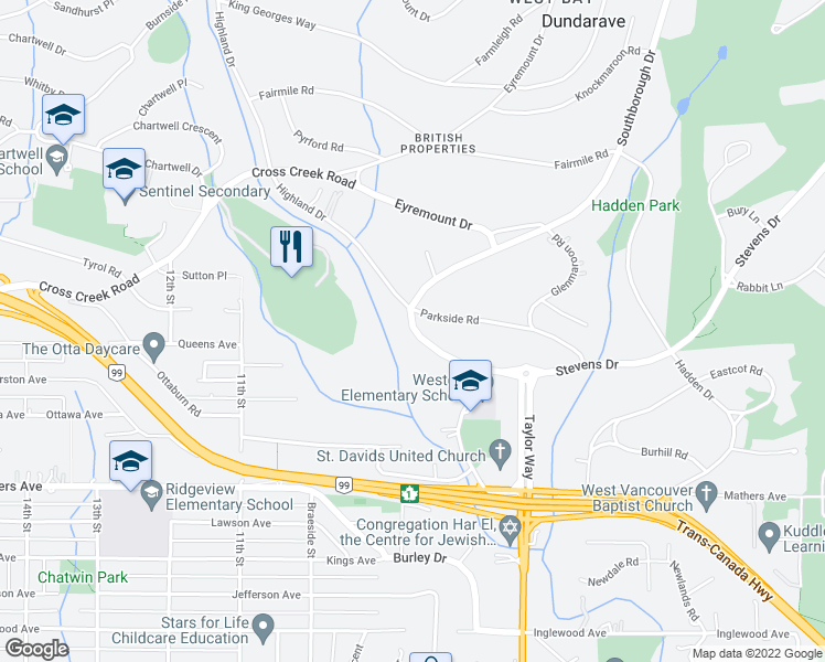 map of restaurants, bars, coffee shops, grocery stores, and more near 735 Southborough Drive in West Vancouver