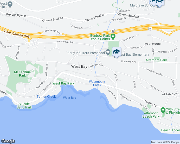 map of restaurants, bars, coffee shops, grocery stores, and more near 3284 Mathers Avenue in West Vancouver