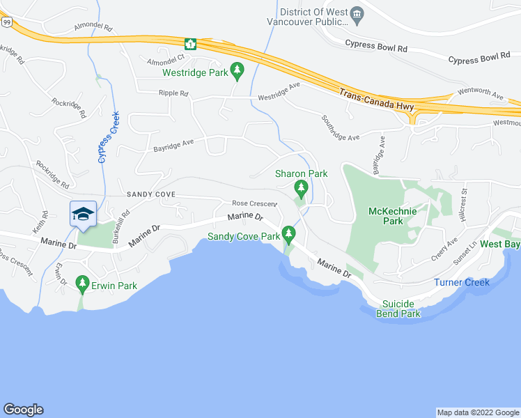map of restaurants, bars, coffee shops, grocery stores, and more near 4035 Marine Drive in West Vancouver