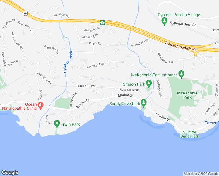 map of restaurants, bars, coffee shops, grocery stores, and more near 4120 Rose Crescent in West Vancouver