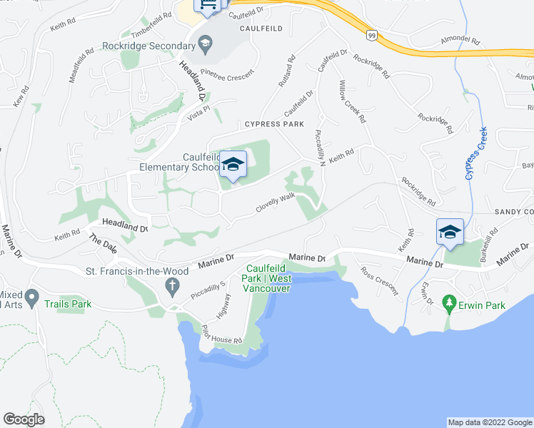 map of restaurants, bars, coffee shops, grocery stores, and more near 4652 Clovelly Walk in West Vancouver