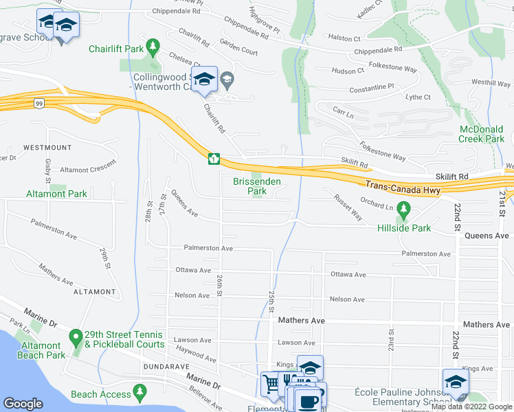 map of restaurants, bars, coffee shops, grocery stores, and more near 2540 Rosebery Avenue in West Vancouver