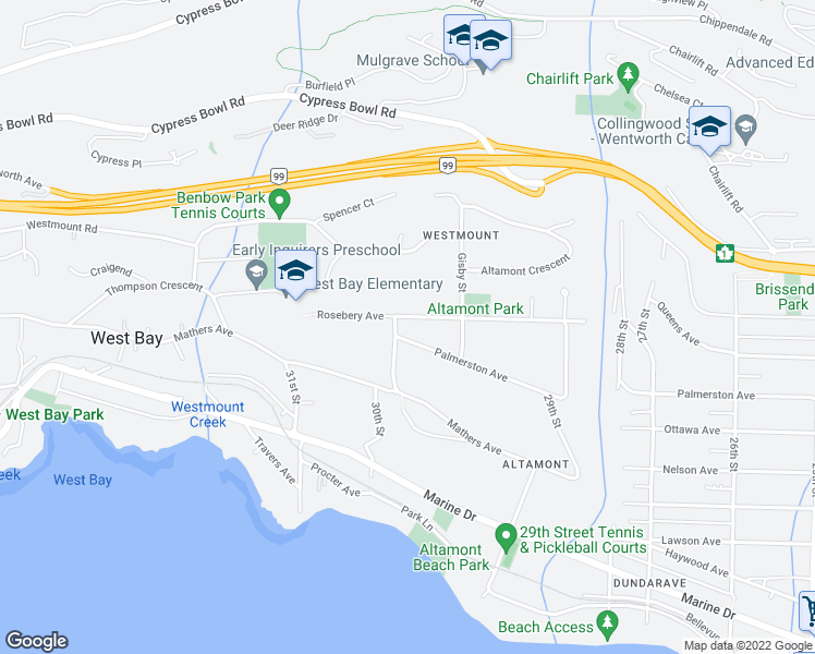 map of restaurants, bars, coffee shops, grocery stores, and more near 2998 Rosebery Avenue in West Vancouver